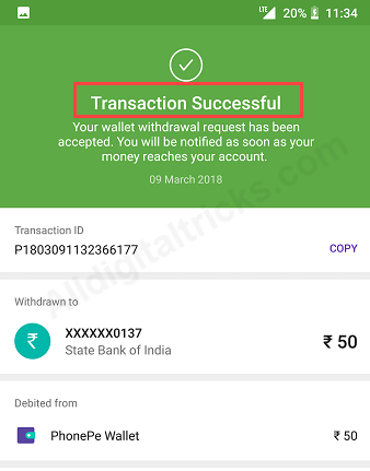 Withdraw PhonePe wallet money balance SBI Account
