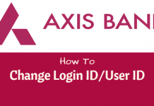 axis bank change login ID/User ID