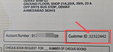 Axis bank customer ID cheque book