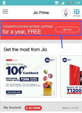 Jio Prime extend free