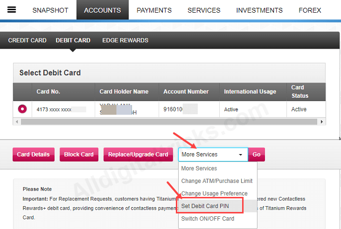 reset axis bank debit card pin