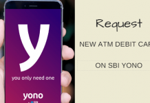 SBI YONO Request new atm debit card