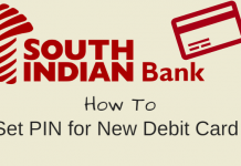 South Indian bank debit card pin set create generate
