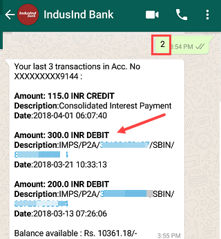 Indusind bank whatspp balance statement check