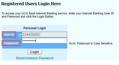 activate/register UCO Bank net banking online