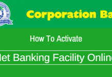 Corporation Bank net banking online activate register
