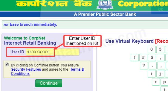 Corporation Bank net banking online activate register