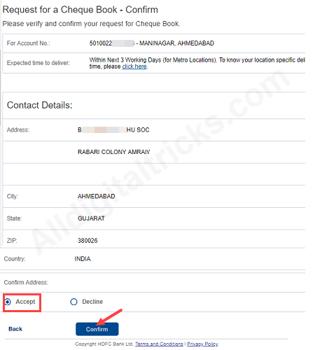 request new HDFC Bank Cheque Book online