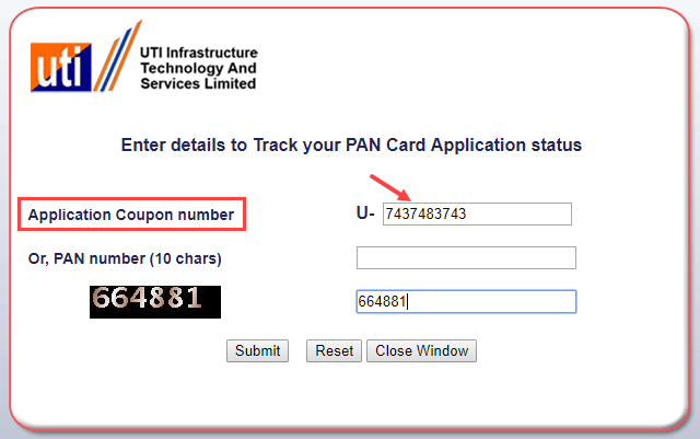 track pan card status online Application coupon number
