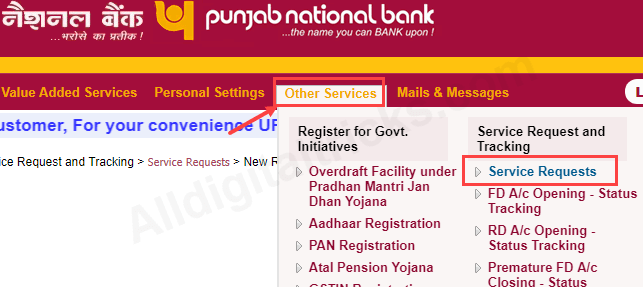 request new Cheque Book online Punjab national bank PNB