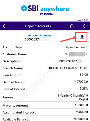 4: In Account summary tap on Deposit Accounts. Here you can see your MOD  Account number, tap on it.