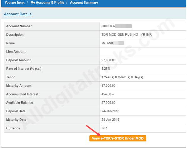 download SBI multi option deposit receipt/Advice