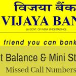 Check Vijaya Bank account balance inquiry number