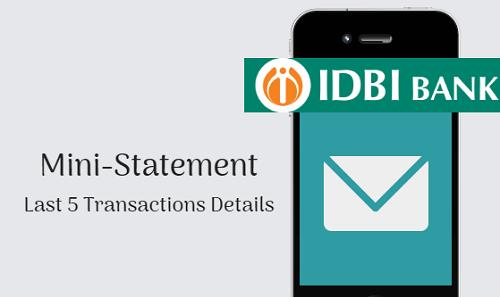IDBI Bank Account mini statement
