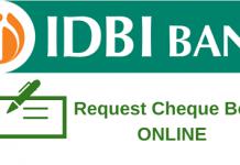 Request IDBI Bank Cheque Book Online