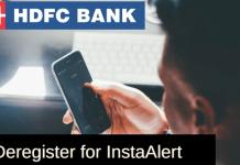 deactivate/deregister HDFC InstaAlert
