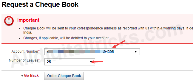 Kotak Bank Cheque Book request online