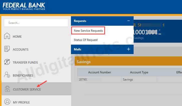 federal bank change registered mobile number online