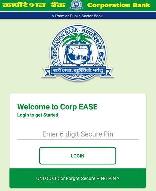 Corporation Bank mobile banking login