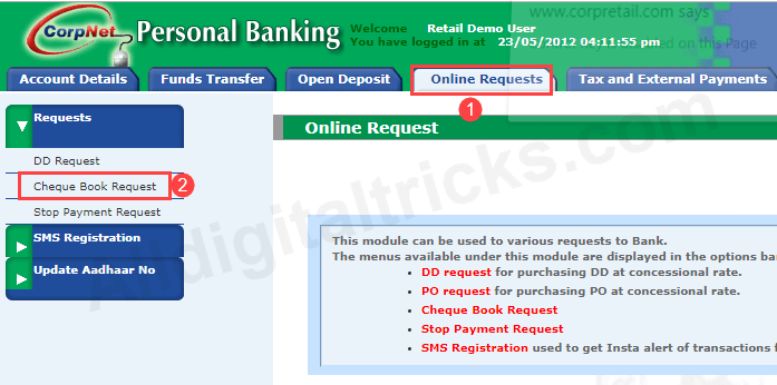 request corporation bank Cheque Book online