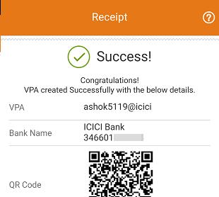 ICICI Bank create UPI ID VPA