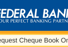 Cheque Book request federal bank