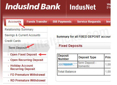 Indusind Bank open Fixed Deposit (FD) Online