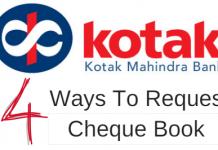 Kotak Bank Cheque Book request online