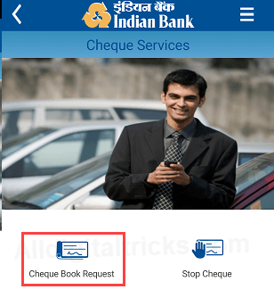 Indian Bank Cheque Book Request Online