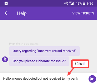 PhonePe chat