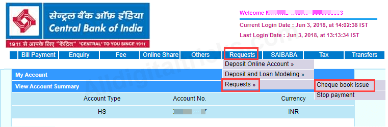 Cheque book request Central Bank of India