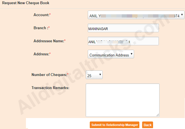 request Cheque Book South Indian bank