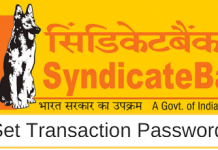 Syndicate bank set transaction password