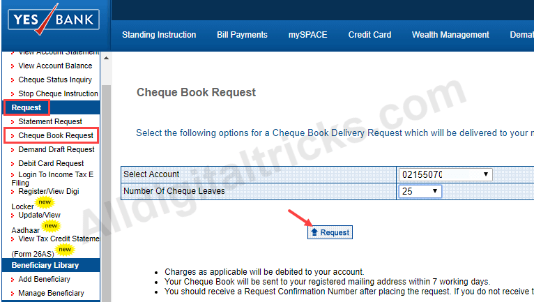 yes bank request Cheque Book Online