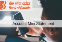 Bank of baroda mini statement