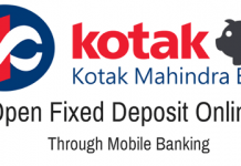 Kotak Mahindra Bank open Fixed Deposit Online through Mobile Banking