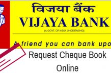 apply cheque book online vijaya Bank