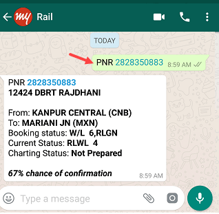 rail ticket PNR status on WhatsApp