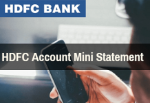 HDFC Account mini statement
