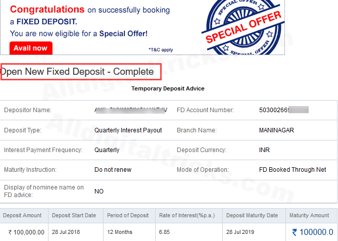 how to liquidate fixed deposit in hdfc bank online