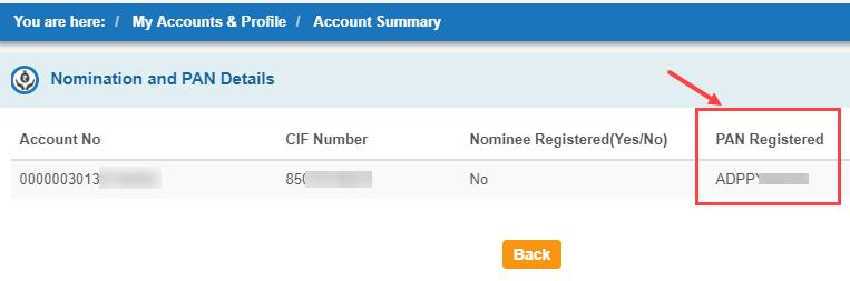pan card link sbi account or not