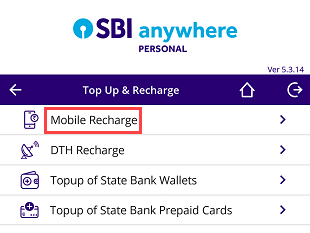 SBI Anywhere Mobile recharge