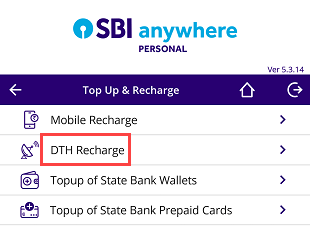 SBI Anywhere DTH recharge