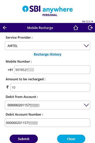 SBI Anywhere recharge mobile