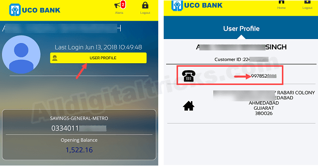UCO Bank which mobile number registered