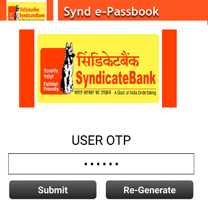 Syndicate Bank e-passbook facility activation registration