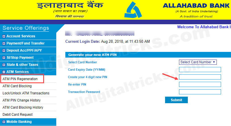 Allahabad Bank Change ATM card Pin online