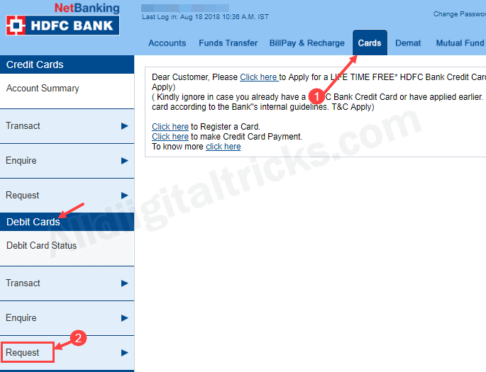 activate International usage HDFC Debit card