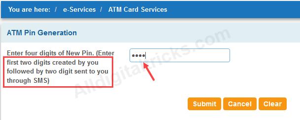 SBI EMV Chip Debit card PIN Generate Online
