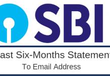 SBI last6 months statement to email address